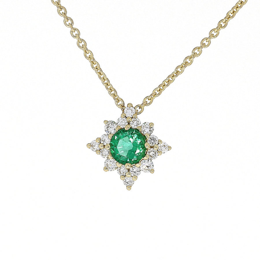 18ct Yellow Gold Emerald & Diamond Micro Cluster Necklace