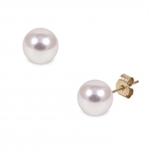 9ct Yellow Gold 8.5mm Cultured Pearl Stud Earrings