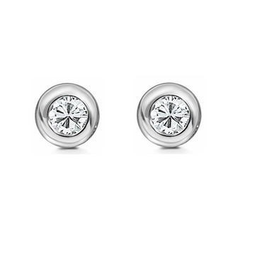 9ct White Gold 0.30ct Rub Set Diamond Stud Earrings