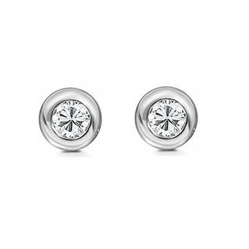 9ct White Gold 0.25ct Rub Set Diamond Stud Earrings