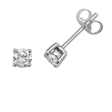 9ct White Gold 0.10ct Claw Set Stud Earrings