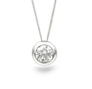 9ct White Gold 0.10ct Rub Set Diamond Necklace