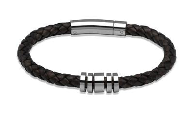 Mens Unique & Co Antique Dark Brown Leather Bracelet