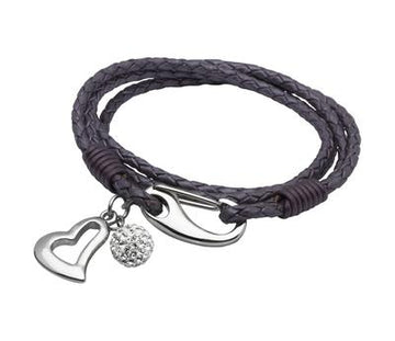 Ladies Unique & Co Berry Leather Bracelet