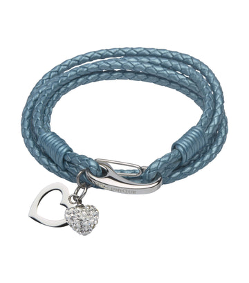Ladies Unique & Co Teal Leather Bracelet