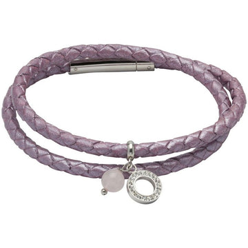 Ladies Unique & Co Lilac Leather Bracelet