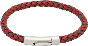 Mens Unique & Co Red Leather Bracelet