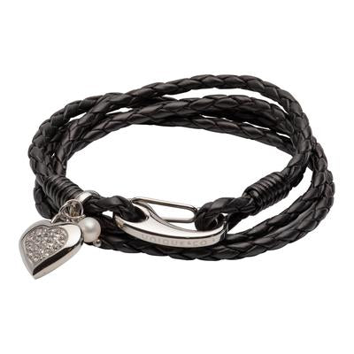 Ladies Unique & Co Black Leather Bracelet