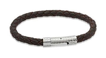 Mens Unique & Co Dark Brown Leather Bracelet