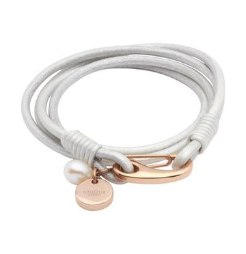 Ladies Unique & Co Pearl Leather Bracelet