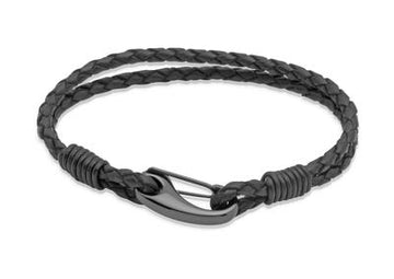 Unisex Unique & Co Antique Black Leather Bracelet