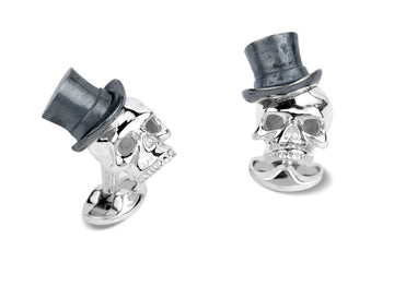 Deakin & Francis Silver Skulls With Top Hat Cufflinks