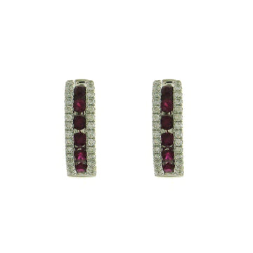 18ct White Gold Ruby and Diamond Hoop Earrings