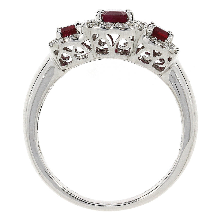 18ct White Gold Ruby & Diamond Triple Cluster Ring