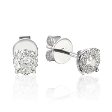 9ct White Gold 0.26ct Halo Cluster Diamond Stud Earrings