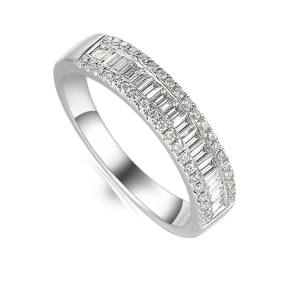 Platinum 0.53ct 3 Row Diamond Half Eternity Ring