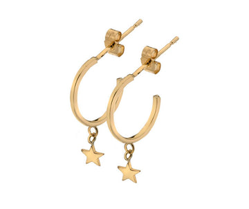 9ct Yellow Gold Small Hoop With Stars Earrings