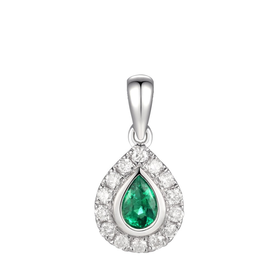 18ct White Gold Emerald & Diamond Micro Cluster Necklace