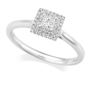 Platinum Double Halo Diamond Cluster Ring