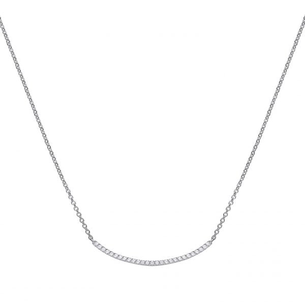 Diamonfire Fine Pave Curve CZ Necklace