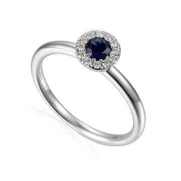 18ct White Gold Sapphire & Diamond Cluster Ring