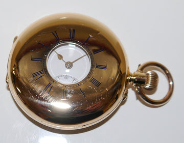 18ct Gold Antique Half Hunter Pocket Watch