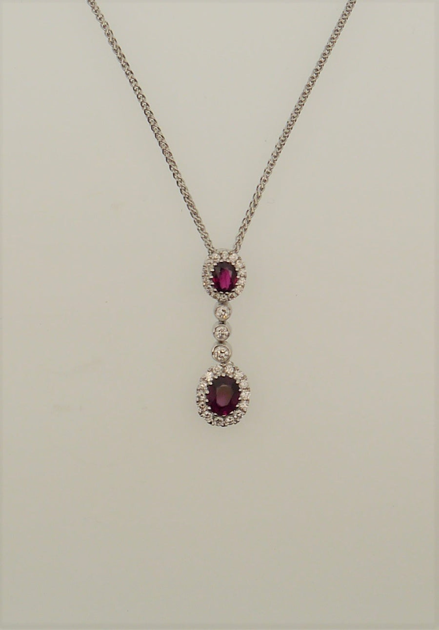 18ct White Gold Ruby and Diamond Double Cluster Necklace
