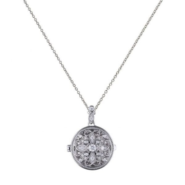 Diamonfire Round Filigree Locket and Chain