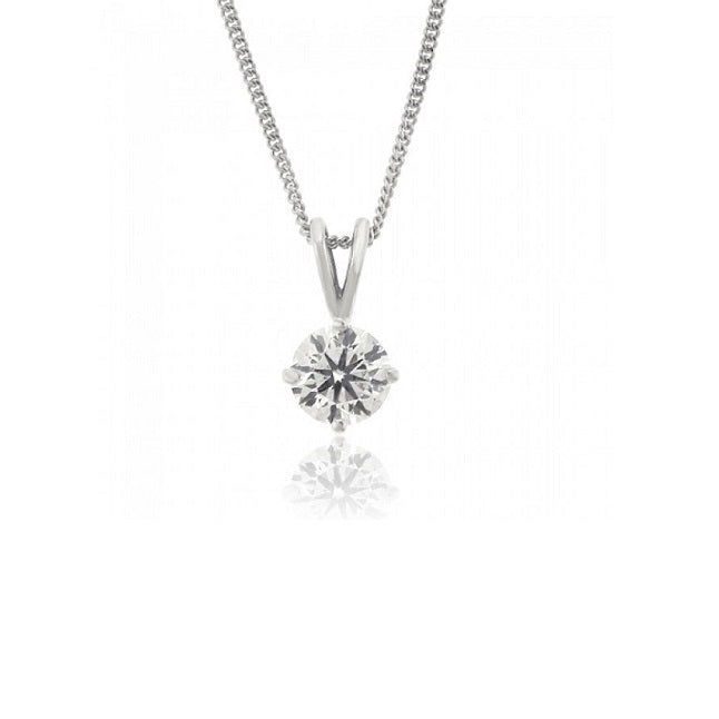 9ct White Gold 0.10ct Claw Set Diamond Necklace