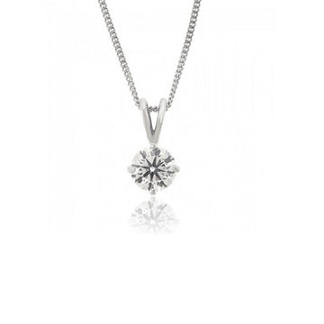 9ct White Gold 0.20ct Claw Set Diamond Necklace