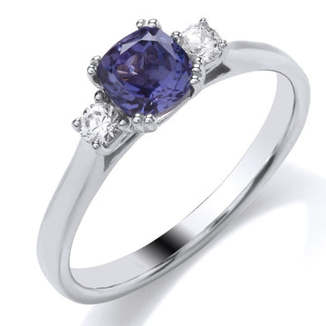 18ct White Gold 3 Stone Tanzanite & Diamond Ring