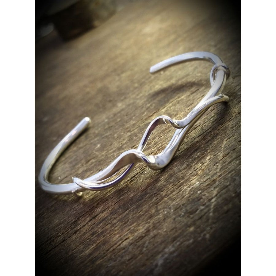 Silver Yulan Torque Twisted Double Cuff Bangle