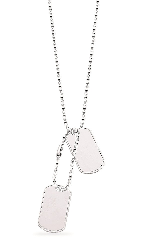 Silver 20 Inch Dog Tag Necklace