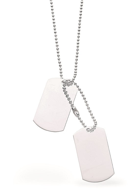 Silver 24 Inch Dog Tag Necklace