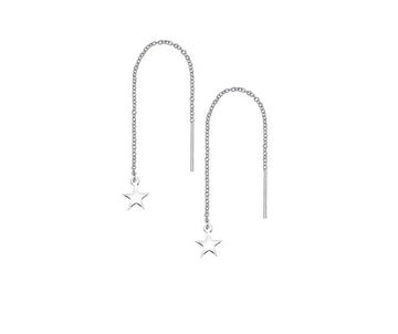 Sterling Silver Threadable Star Drop Earrings