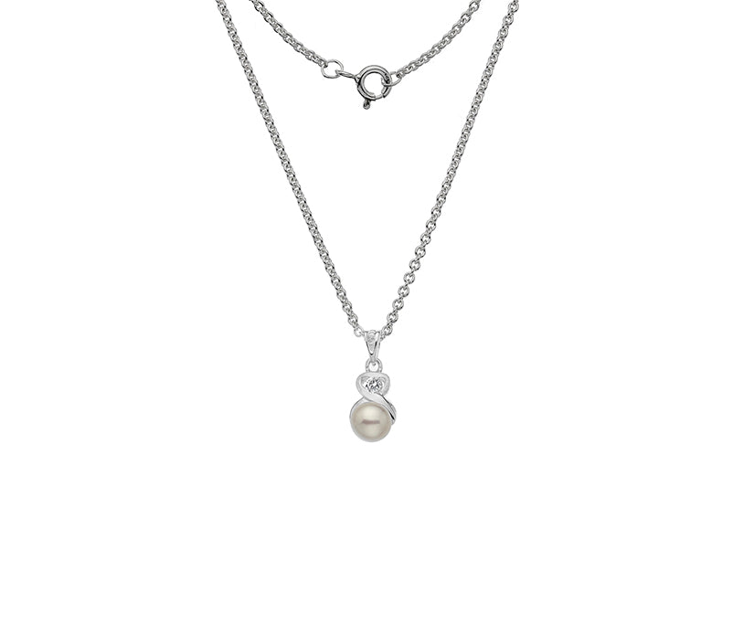 Sterling Silver Pearl & CZ Necklace