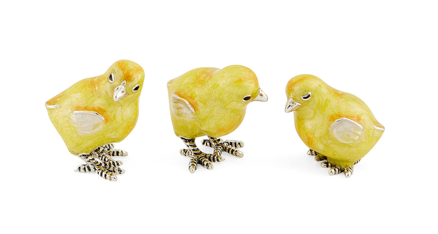 Set of 3 Silver and Enamel Chicks