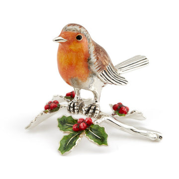 Silver and Enamel Robin on Holly Branch