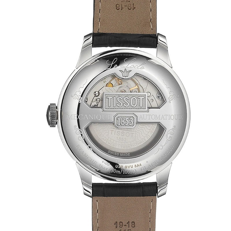 Mens Steel Tissot Le Locle Powermatic 80 Watch on Leather Strap