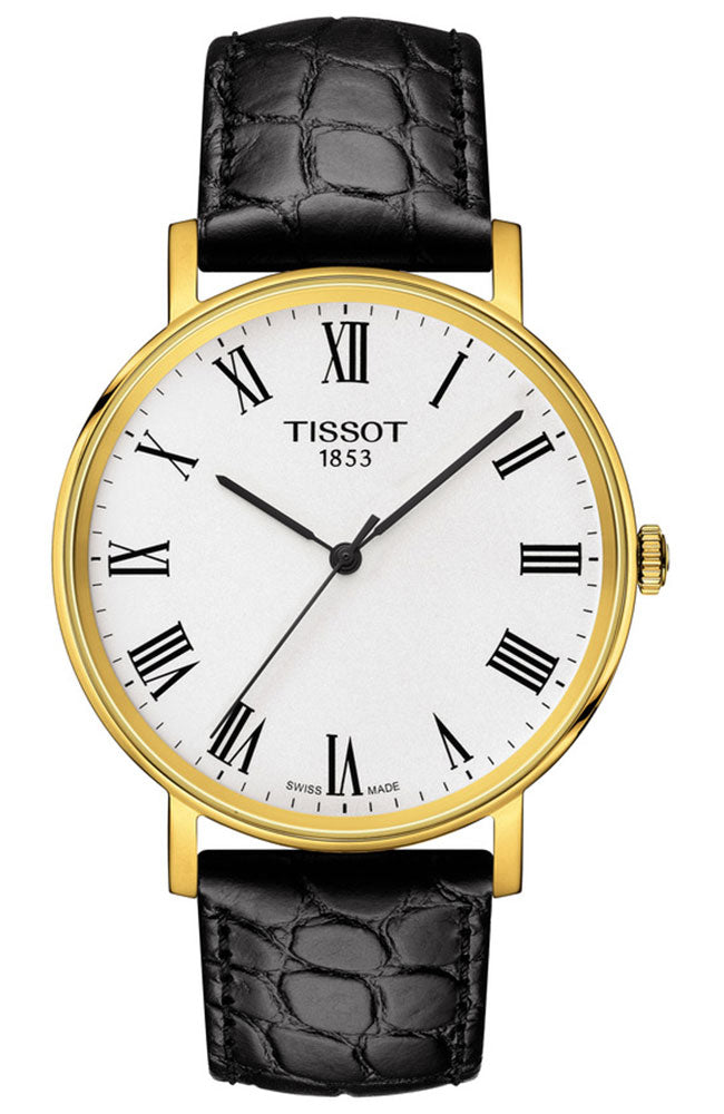 Mens Gold PVD Tissot Everytime Watch on Leather Strap