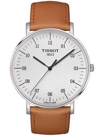 Mens Steel Tissot Everytime Watch on Leather Strap