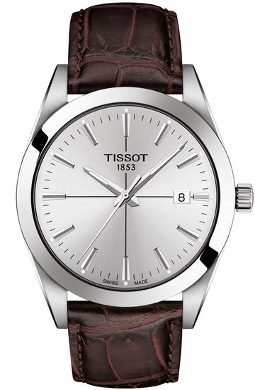 Mens Steel Tissot Gentleman Watch on Leather Strap