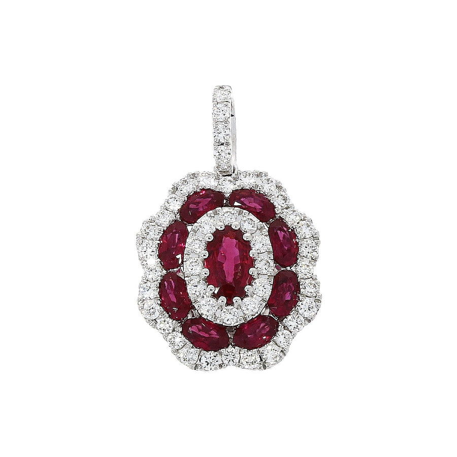 18ct White Gold Ruby & Diamond Cluster Necklace