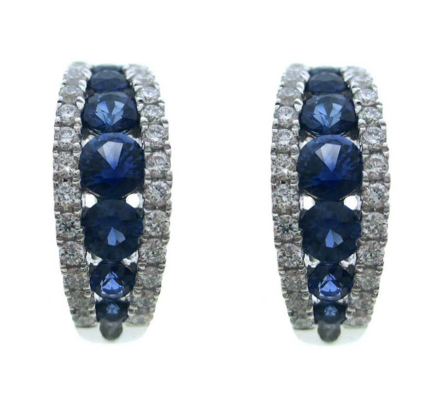 18ct White Gold Sapphire and Diamond Hoop Earrings