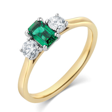18ct Yellow Gold 3 Stone Emerald & Diamond Ring