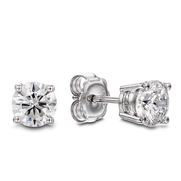 18ct White Gold 1.02ct Claw Set Diamond Stud Earrings