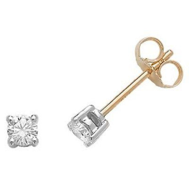 18ct Yellow and White Gold 0.46ct Claw Set Diamond Stud Earrings
