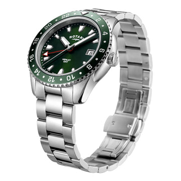 Mens Rotary Henley Green GMT Watch