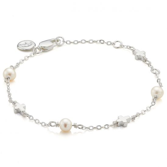 Molly Brown London Pearl Station Cross Bracelet