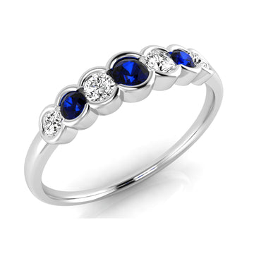18ct White Gold Sapphire and Diamond 7 Stone Ring